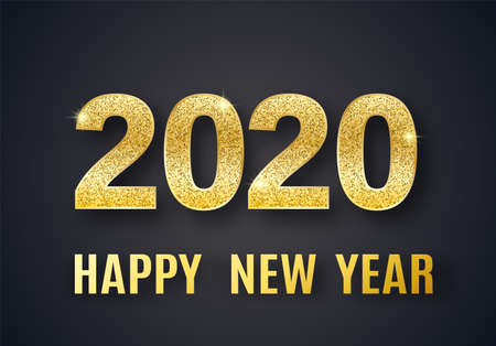 2020 Happy New Year vector background with shine glitter numbers. Vip christmas celebrate design. Festive premium concept template for holiday