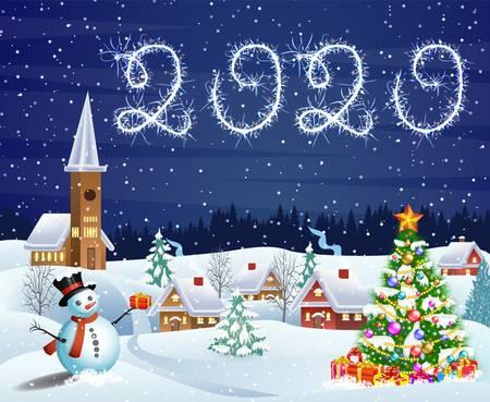 Haus in verschneiter Weihnachtslandschaft bei Nacht
