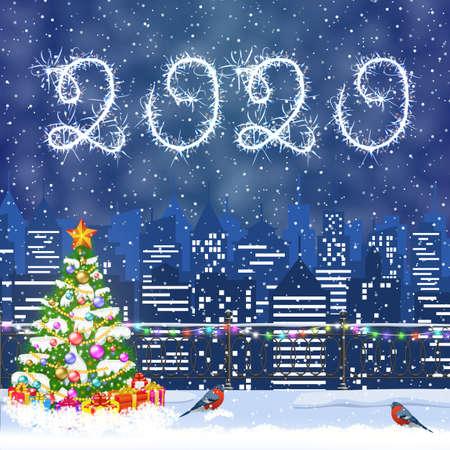 Paisaje urbano de invierno de Navidad Ilustración de vector