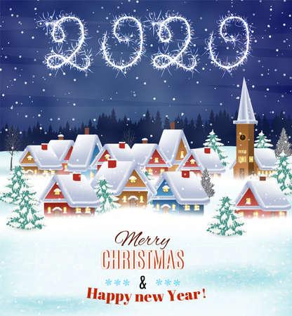 Casa en paisaje nevado de Navidad en la noche