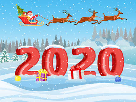 Christmas Santa Claus riding on sleigh with Christmas Reindeer on a sleigh. concept for greeting or postal card, 3d numbers. Merry christmas holiday. New year and xmas celebration.