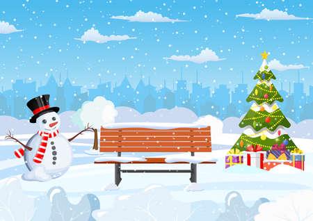 parque de la ciudad de invierno cubierto de nieve Ilustración de vector