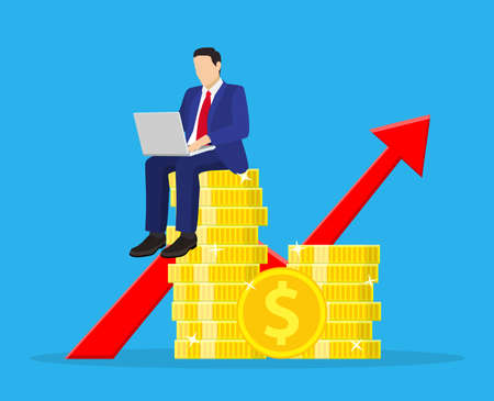 Financial consultantsitting on a stack of coins. Illustration