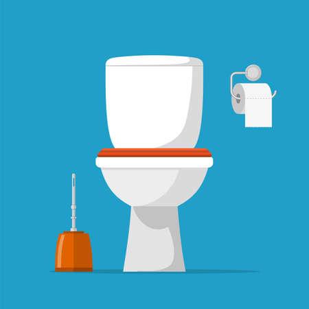 Toilette en céramique blanche, papier toilette et brosse de toilette. ensemble de toilette moderne dans un style plat. Illustration vectorielle