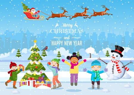 happy new year and merry Christmas greeting card. Christmas landscape. kids decorating a Christmas tree. Winter holidays. Vector illustration in flat style