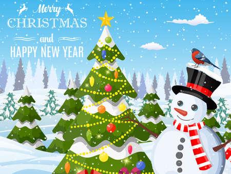 Snowman with fir tree.