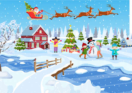 happy new year and merry Christmas greeting card. Christmas landscape. christmas tree. Children building snowman. Winter holidays. Vector illustration in flat style