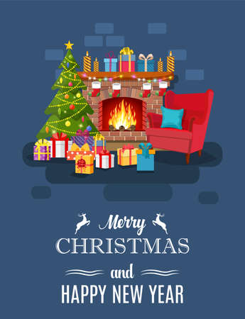 Kerst open haard kamer interieur