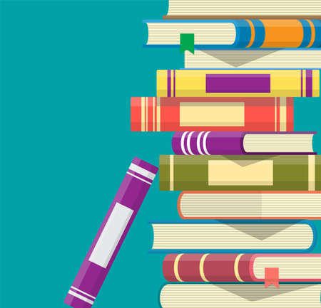 Pile of books. Reading education, e-book, literature, encyclopedia. Vector illustration in flat style  イラスト・ベクター素材