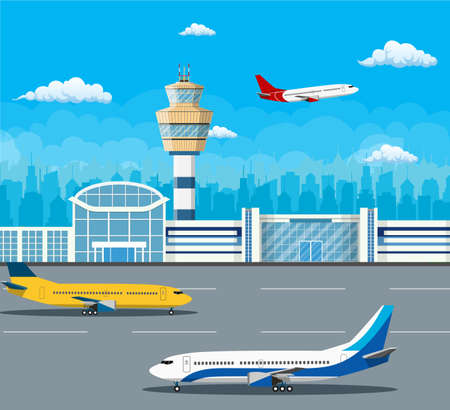 Airport building and airplanes on runway. Control Tower and Airplane on the Background of the city, Travel and Tourism Concept. Vector illustration in flat style.