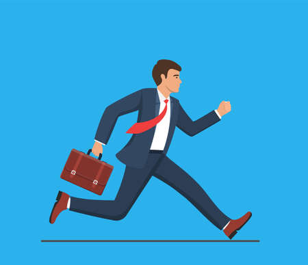 Business man with briefcase running fast. Late business person rushing in a hurry to get on time. business concept. Vector illustration in flat style. Ilustração