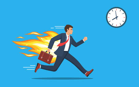 Office worker character running with back on fire. Deadline and rush hour. Business concept. Vector illustration in flat style.