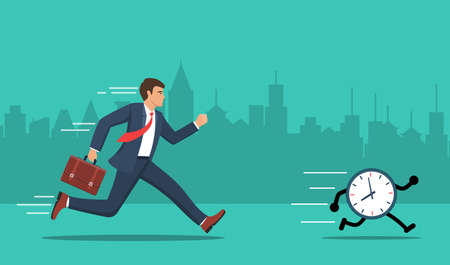 Businessmen running a race against time. Business concept. Vector illustration in flat style. Ilustracja