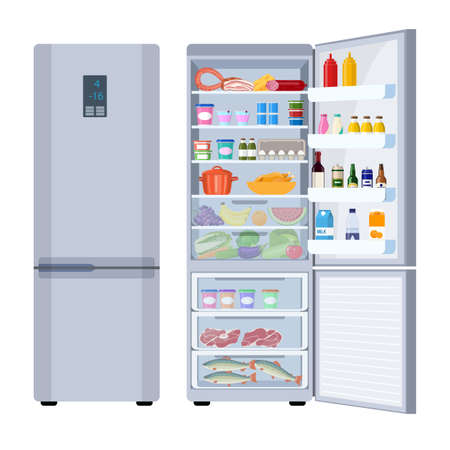 Closed and Opened Refrigerator Full Of Food and Drinks. Healthy food in frozy refrigerator vegetables meat juce steak supermarket products. Vector illustration in flat style.