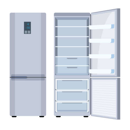 Outdoor white refrigerator. Closed and open white fridge. Fridge with freezer. isolated on white background. Vector illustration in flat style.