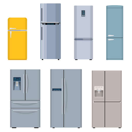 Refrigerator icon. Set refrigerators, side by side, one door, two doors. isolated on white background. Vector illustration in flat style.