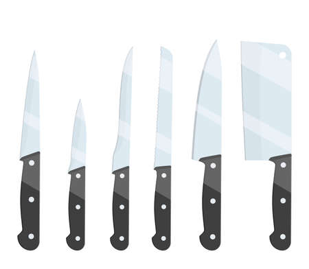 Different types of kitchen knives set icon isolated on white background. For web, poster, menu, cafe and restaurant. Vector illustration in flat style. 写真素材 - 137768538