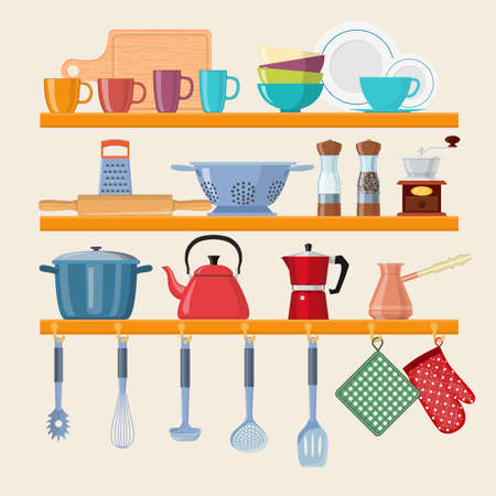 Kitchen shelves with tableware