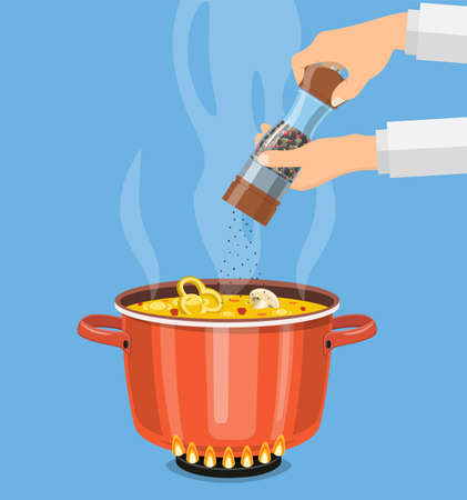 Chef cook with pepper mill and boiling pot