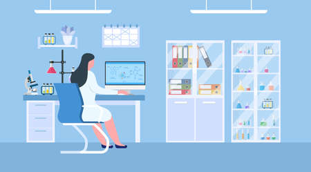 Chemical laboratory science and technology coronavirus 2019-nCoV. Scientists workplace concept. Science, education, chemistry, experiment, laboratory concept. vector illustration in flat design Vektorové ilustrace