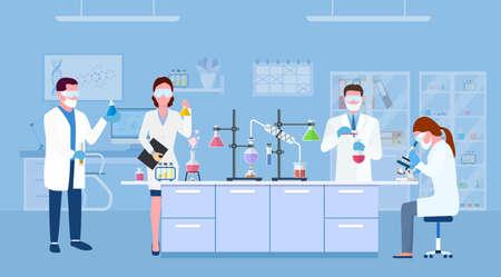 . Scientist people wearing lab coats