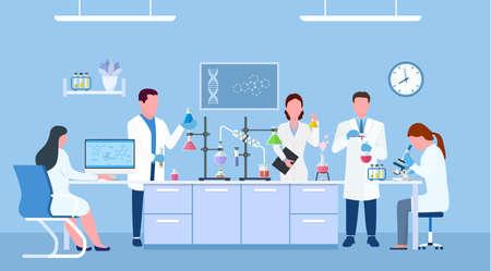 . Personas científicas con batas de laboratorio