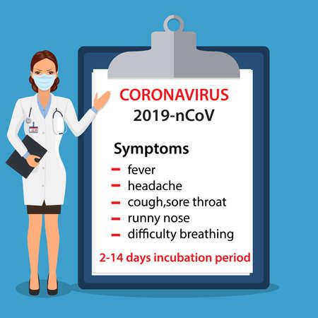 Coronavirus 2019-nCov symptoms concept.