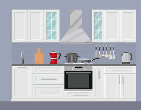 Modern kitchen interior with furniture and cooking devices. graphic design template. Working surface for cooking. vector illustration in flat design