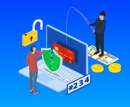 Internet phishing and hacking attack isometric concept. Email spoofing and personal information security background. internet attack on credit card. vector illustration in flat design.