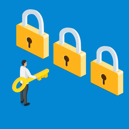 3d isometric businessman holding golden key and thinking in front of three golden lock. Business choice and opportunity concept. Vector Illustratie