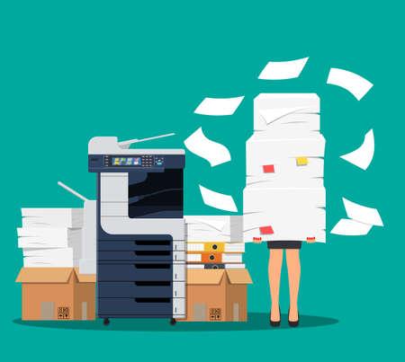 Businesswoman in pile of papers. Ilustración de vector