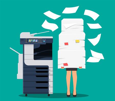 Businesswoman in pile of papers. Иллюстрация