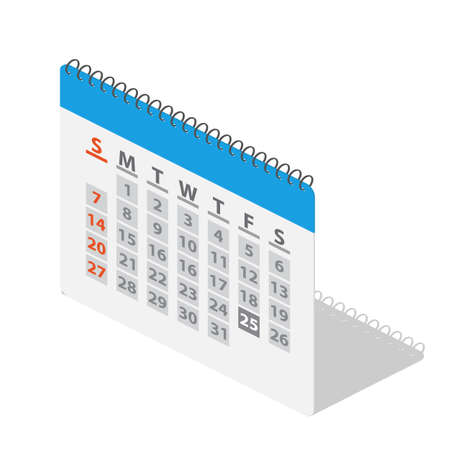 Isometric calendar icon. The year, month, day, time and date reminder concept. Vector illustration in flat style