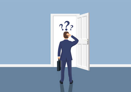 Businessman standing in front open doors. Choice way concept. Human before choosing. Decide direction. Vector illustration flat style
