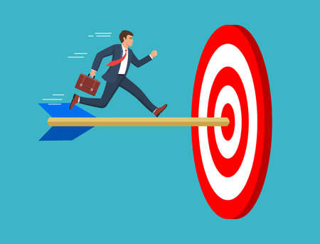 The businessman run to the bulls eye with the dart