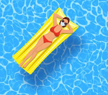 sexy girl lying on mattress, over water Standard-Bild - 143169185