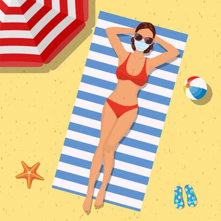 Girl on the beach with a bikini. Summer time Standard-Bild - 143169194