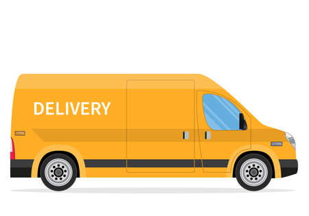 delivery truck van isolated on white background. Online delivery service concept. delivery home and office. Vector illustration in flat style Stock Illustratie
