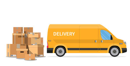 delivery truck van and cardboard boxes with fragile signs isolated on white background. Online delivery service concept. delivery home and office. Fast service truck. Vector illustration in flat style