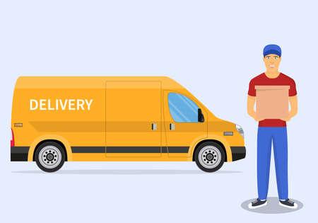 Delivery man and track Foto de archivo - 143676923