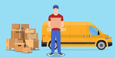 Delivery man and track Foto de archivo - 143676930