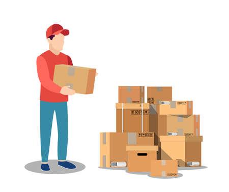 courier character delivery service icon Vektoros illusztráció