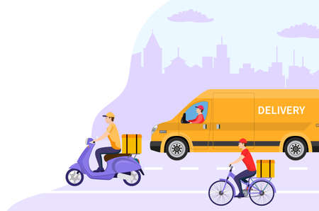 Online delivery service concept, online order tracking, delivery home and office. Warehouse, truck, scooter and bicycle courier, delivery man. Vector illustration in flat style
