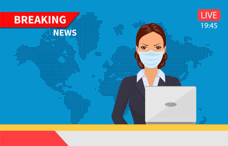 Beautiful young tv newscaster woman Illustration