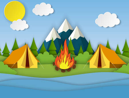 Paper cut summer landsape. Landscape with yellow tent, forest and mountains on the background. Adventures in nature, vacation, and tourism vector illustration.