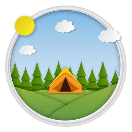 Paper cut summer landsape. Landscape with yellow tent, forest on the background. Adventures in nature, vacation, and tourism vector illustration. Çizim