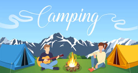 Group of young people are sitting around campfire. Young tourists, campers cartoon characters. Man playing guitar. Vector illustration in flat style Ilustração