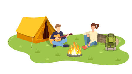 Group of young people are sitting around campfire