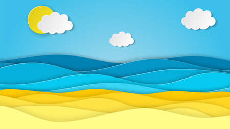 Sea landscape with beach, waves, clouds. Paper cut out digital craft style. abstract blue sea and beach summer background with paper waves and seacoast. Vector illustration