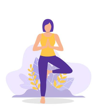 Young woman doing yoga workout.  イラスト・ベクター素材